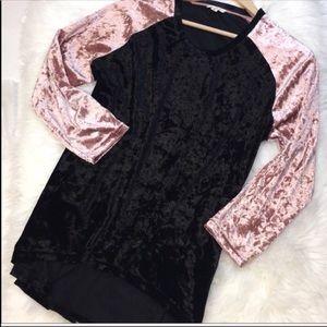 Velvet Crush Pink and Black Raglan Top